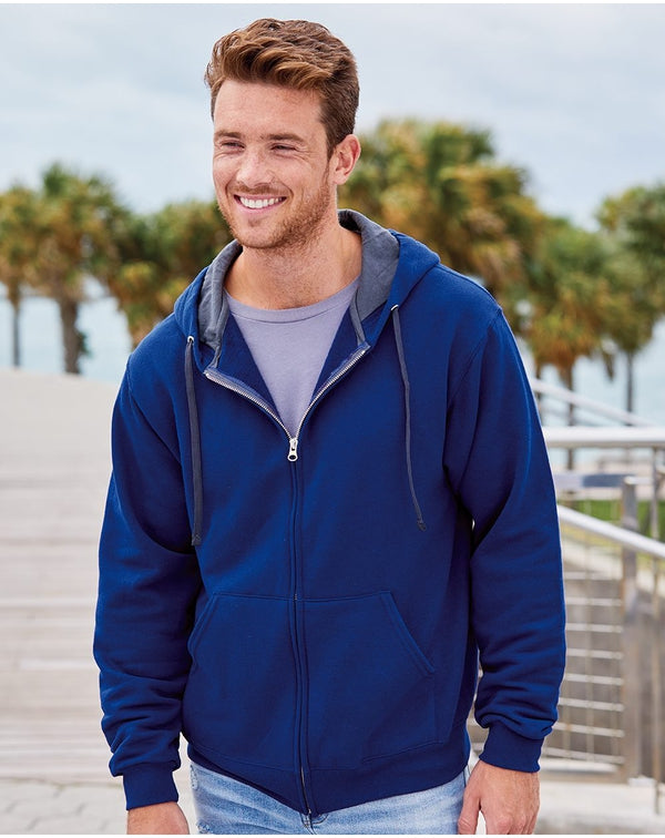 Sofspun Hooded Full-Zip Sweatshirt-Fruit of the Loom-Pacific Brandwear