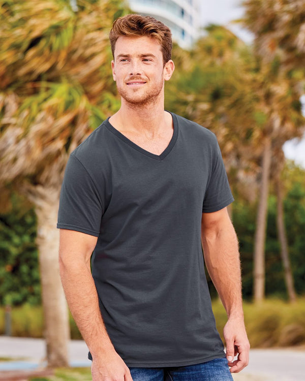 Sofspun V-Neck T-Shirt-Fruit of the Loom-Pacific Brandwear