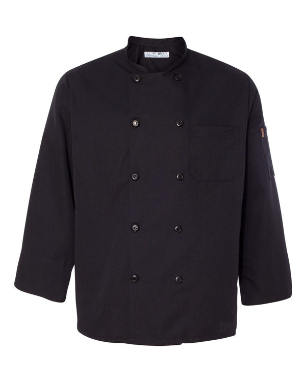 Ten Pearl Button Black Chef Coat-Chef Designs-Pacific Brandwear