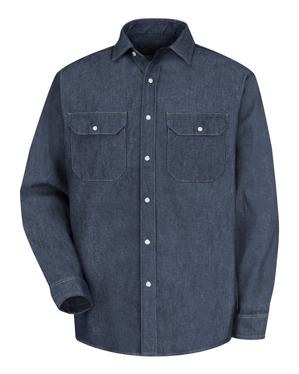 Deluxe Denim Long sleeve Shirt-Red Kap-Pacific Brandwear