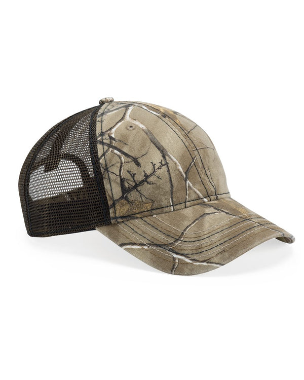 Mesh-Back Camo Cap with Flag Undervisor-Outdoor Cap-Pacific Brandwear