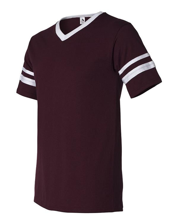 Augusta V-Neck Striped-Sleeve Tee-Augusta-Pacific Brandwear