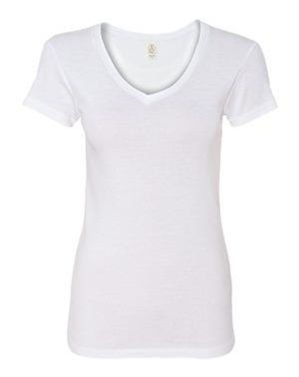 Women's 1x1 Baby Rib V-Neck T-Shirt-Alternative Apparel-Pacific Brandwear