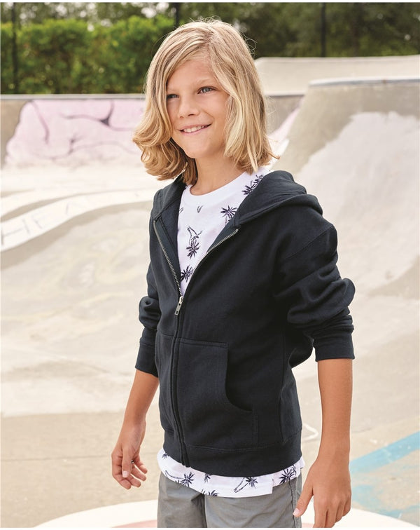 Youth Midweight Full-Zip Hooded Sweatshirt-Independent Trading Co.-Pacific Brandwear