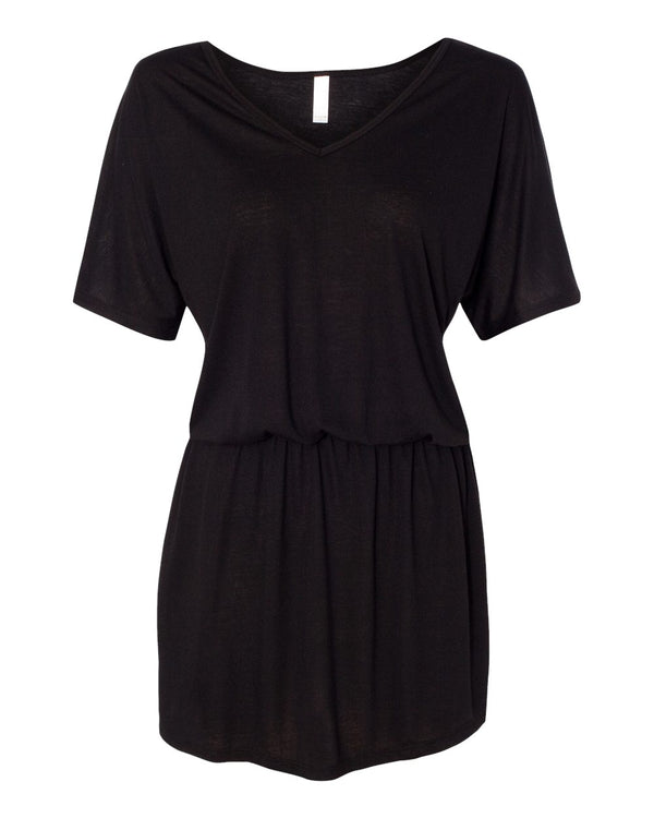Women's Flowy V-neck Dress-BELLA + CANVAS-Pacific Brandwear