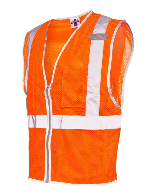 Premium Brilliant Series Three-Pocket Zippered Mesh Vest-ML Kishigo-Pacific Brandwear
