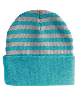 "12"" Striped Knit Beanie-Sportsman-Pacific Brandwear"