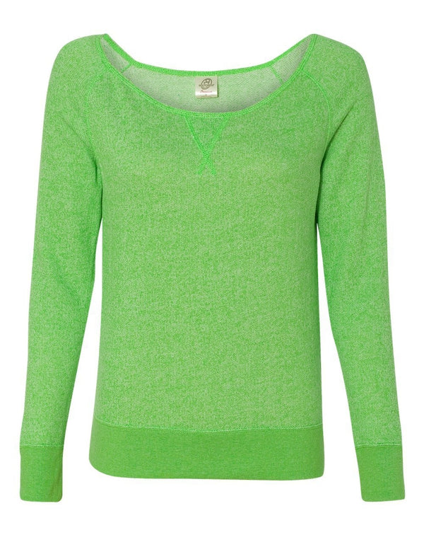 Juniors' Wide Neck Sweaterfleece Crew-Independent Trading Co.-Pacific Brandwear