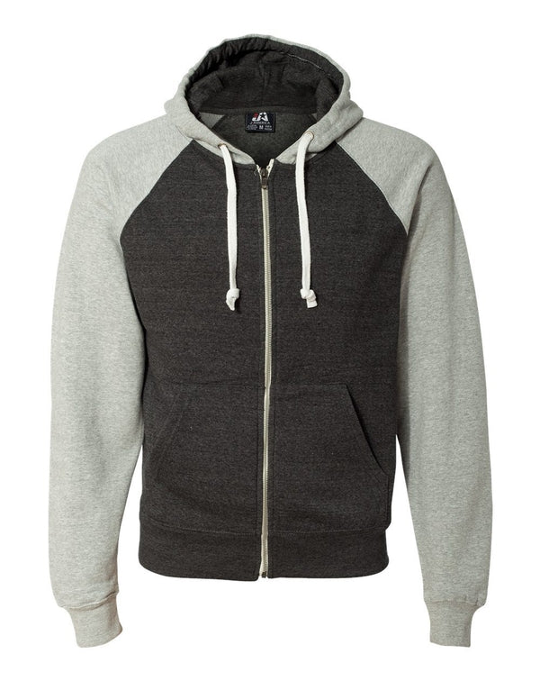 Triblend Raglan Full-Zip Hooded Sweatshirt-J. America-Pacific Brandwear