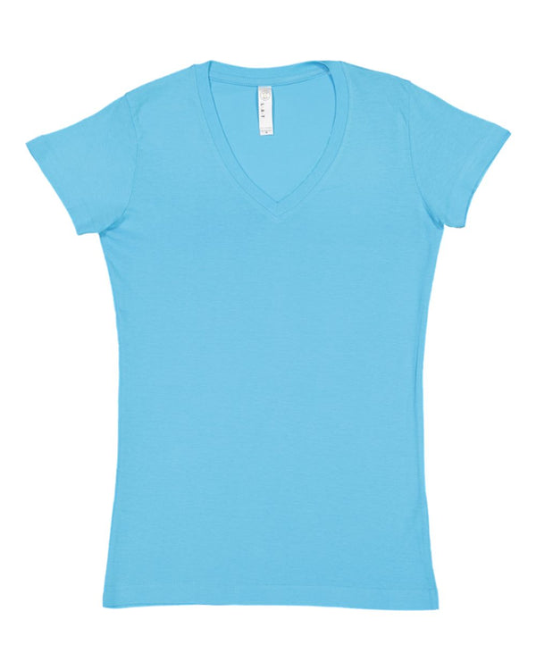 Junior Fit V-Neck Fine Jersey Tee-LAT-Pacific Brandwear
