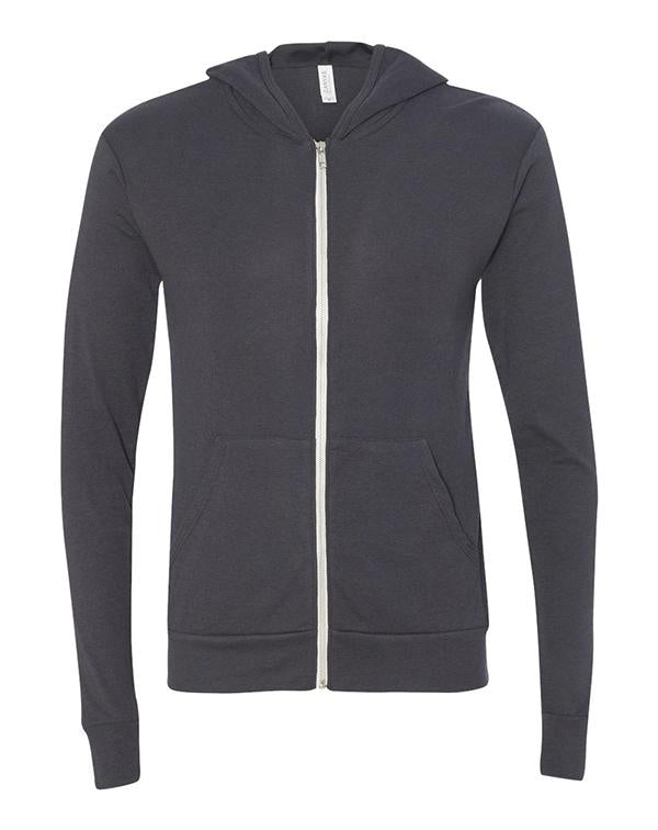 Bella Unisex Triblend Lightweight Hooded Full-Zip-BELLA CANVAS-Pacific Brandwear