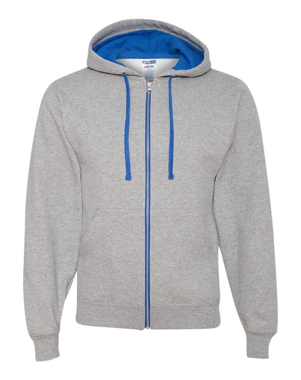 NuBlend Colorblocked Full-Zip Hooded Sweatshirt-JERZEES-Pacific Brandwear