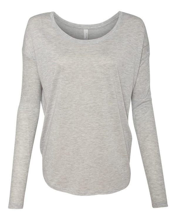 Women's Flowy 2x1 Ribbed Long sleeve Tee-BELLA + CANVAS-Pacific Brandwear