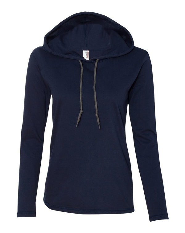 Women's Lightweight Hooded Long sleeve T-Shirt-Anvil-Pacific Brandwear