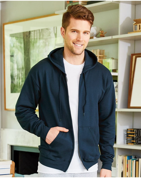 Ecosmart Full-Zip Hooded SweatShirt-Hanes-Pacific Brandwear
