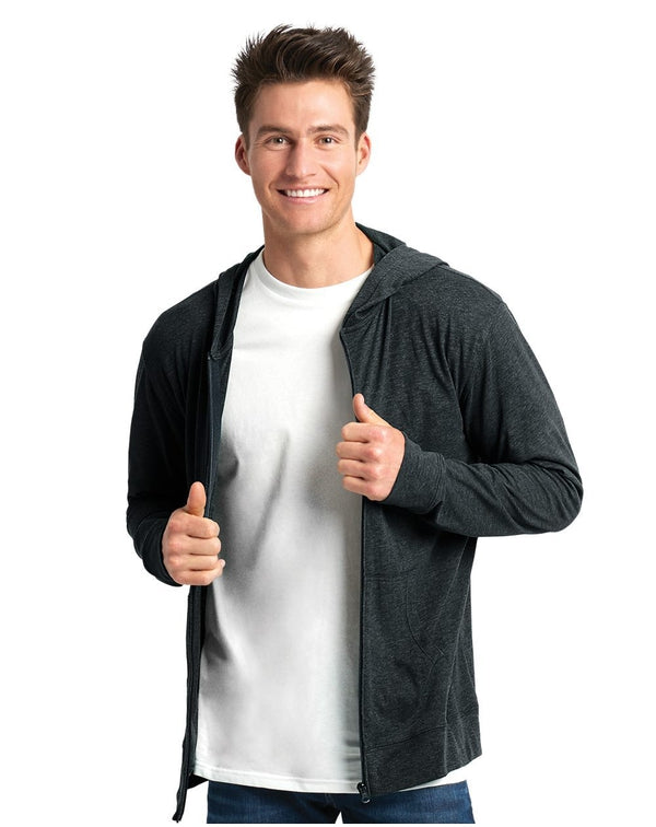 Sueded Long sleeve Hooded Full Zip-Next Level-Pacific Brandwear