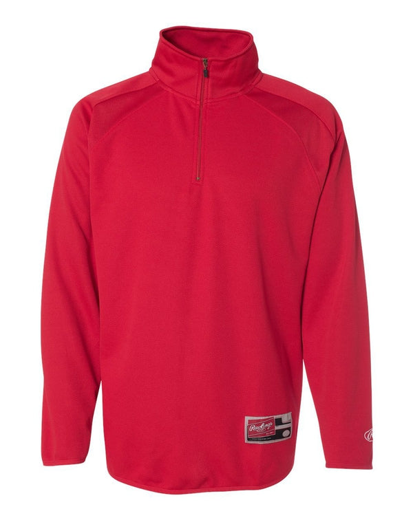 Quarter-Zip Flatback Mesh Fleece Pullover-Rawlings-Pacific Brandwear