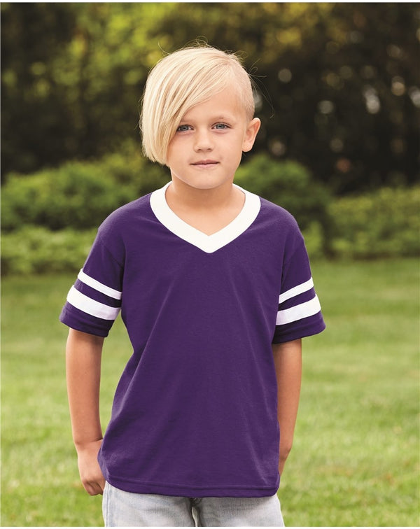 Youth V-Neck Jersey with Striped sleeves-Augusta Sportswear-Pacific Brandwear