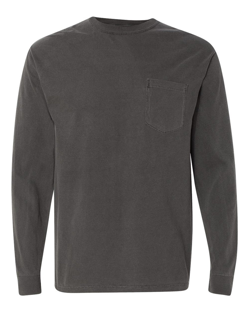 Garment-Dyed Heavyweight Long sleeve Pocket T-Shirt-Comfort Colors-Pacific Brandwear