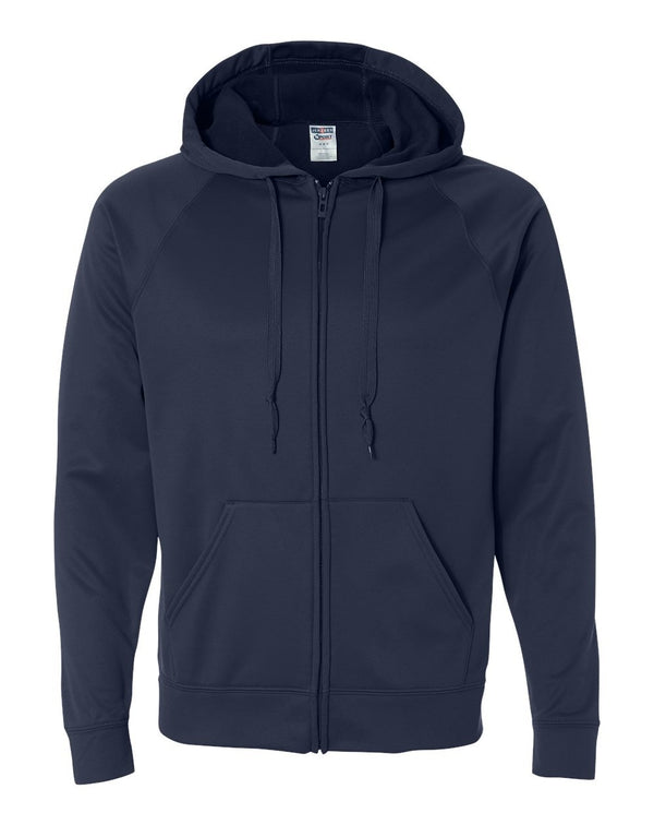 Dri-Power Sport Hooded Full-Zip Sweatshirt-JERZEES-Pacific Brandwear