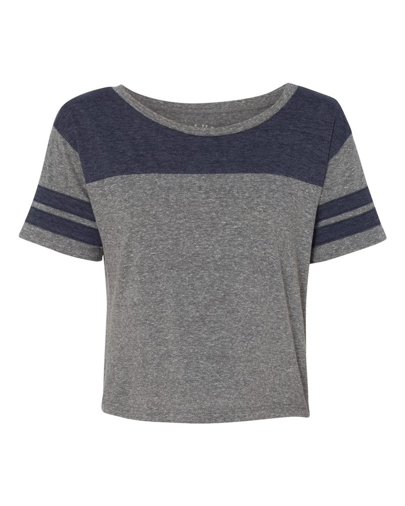 USA-Made Juniors' Triblend Striped Cropped Tee-Blue 84-Pacific Brandwear