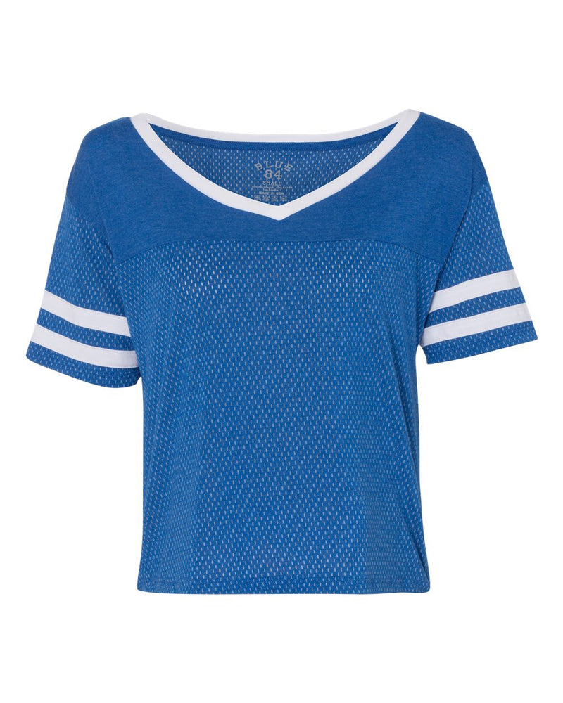 USA-Made Meshy Burnout Cropped V-Neck Tee-Blue 84-Pacific Brandwear
