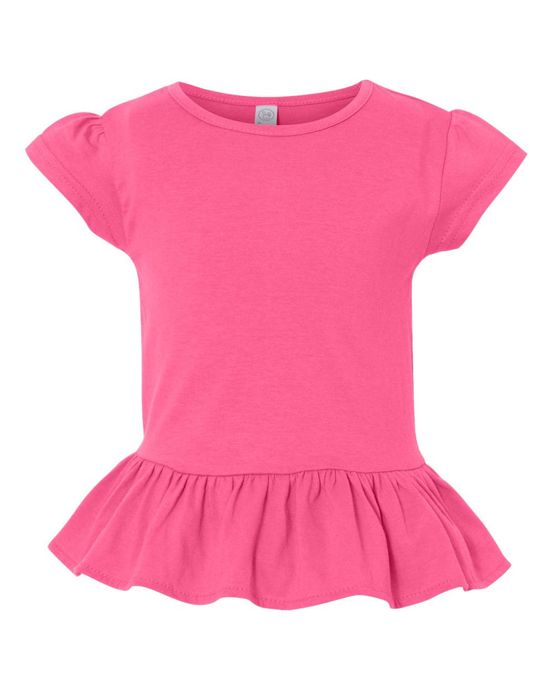 Toddler Girls Ruffle Fine Jersey Tee-Rabbit Skins-Pacific Brandwear
