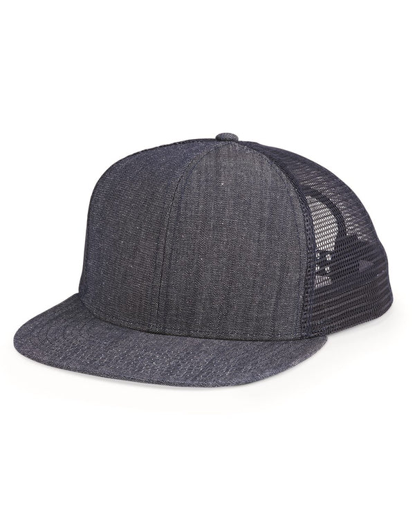 Flat Bill Six-Panel Trucker Cap-Mega Cap-Pacific Brandwear