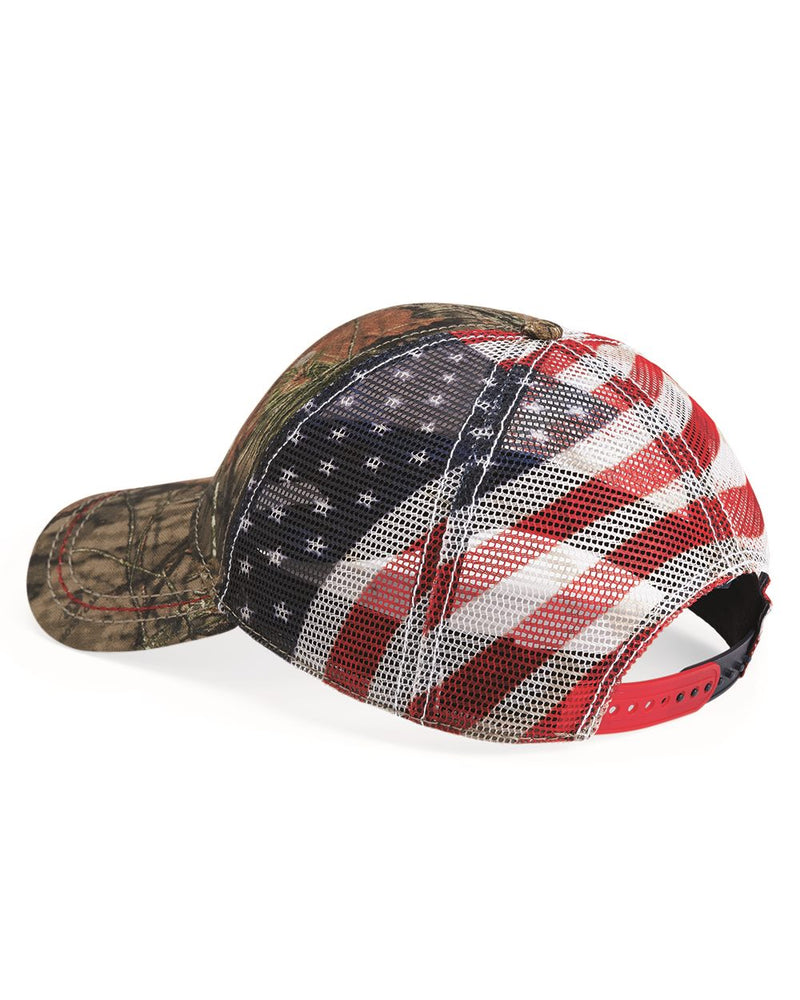 Camo Cap with American Flag Mesh Back-Outdoor Cap-Pacific Brandwear