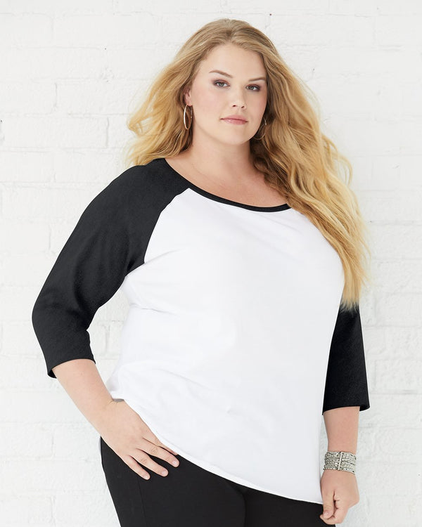 Curvy Collection Women's Baseball Three-Quarter sleeve Tee-LAT-Pacific Brandwear