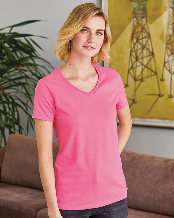 ComfortSoft Tagless Women's V-Neck Short sleeve T-Shirt-Hanes-Pacific Brandwear