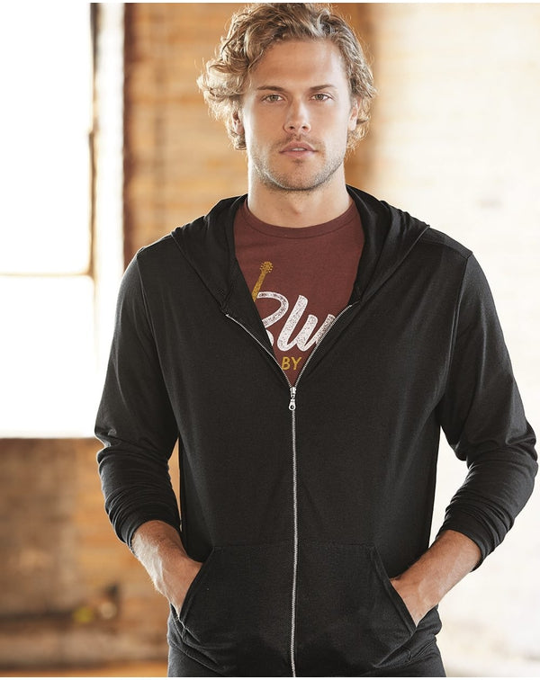 Triblend Full-Zip Hooded Long sleeve T-Shirt-Anvil-Pacific Brandwear