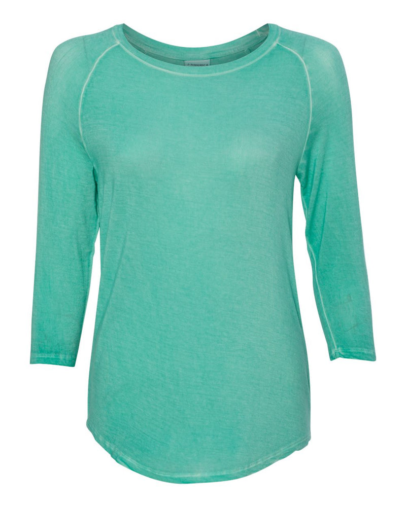 Women's Oasis Wash Three-Quarter sleeve T-Shirt-J. America-Pacific Brandwear