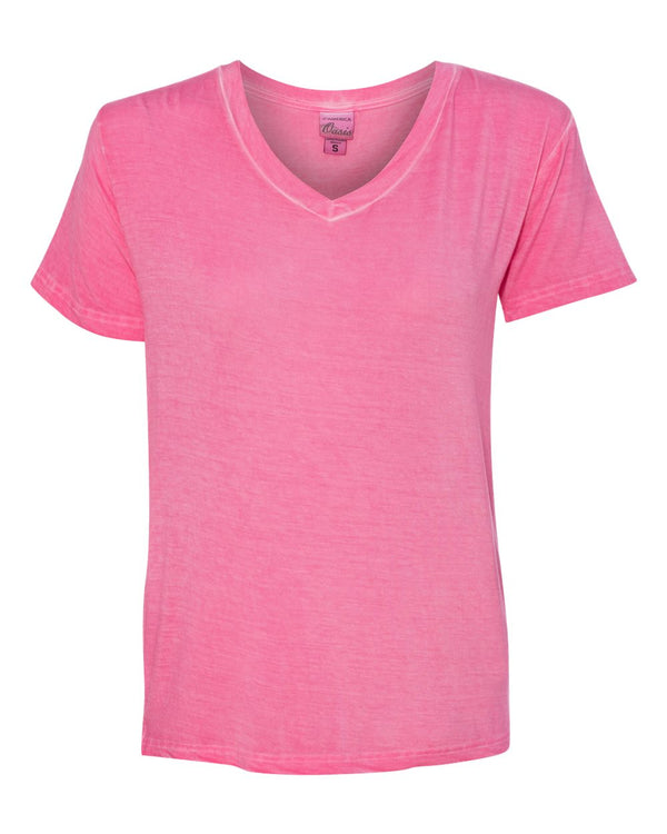 Women's Oasis Wash V-Neck T-Shirt-J. America-Pacific Brandwear