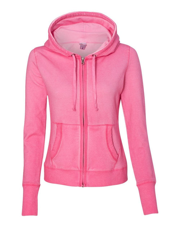 Women's Oasis Wash French Terry Hooded Full-Zip SweatShirt-J. America-Pacific Brandwear