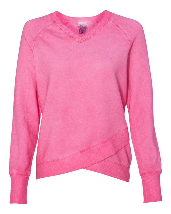 Women's Oasis Wash French Terry Criss Cross V-Neck SweatShirt-J. America-Pacific Brandwear