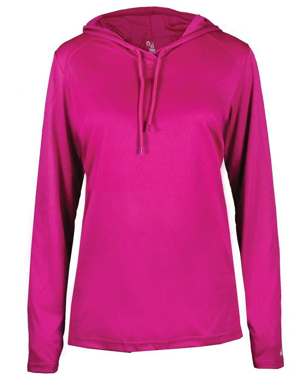 Women's B-Core Long sleeve Hooded T-Shirt-Badger-Pacific Brandwear