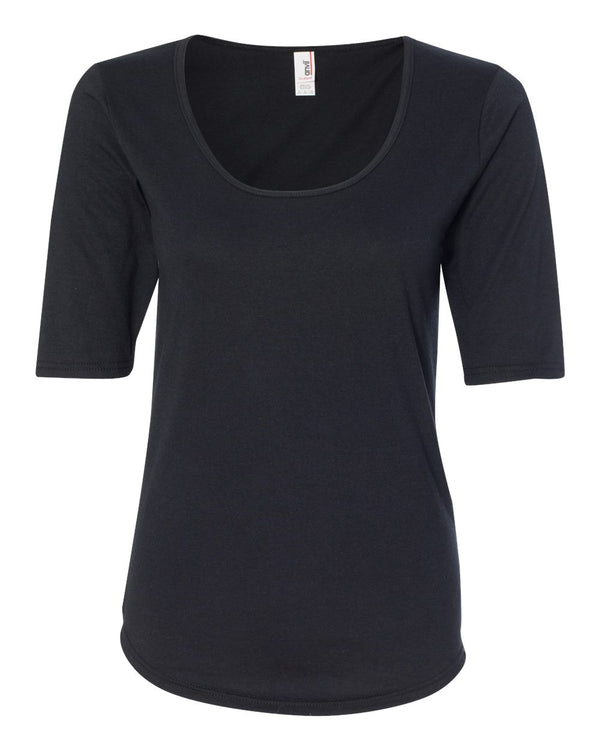 Women's Triblend Deep Scoopneck Three-Quarter sleeve T-Shirt-Anvil-Pacific Brandwear