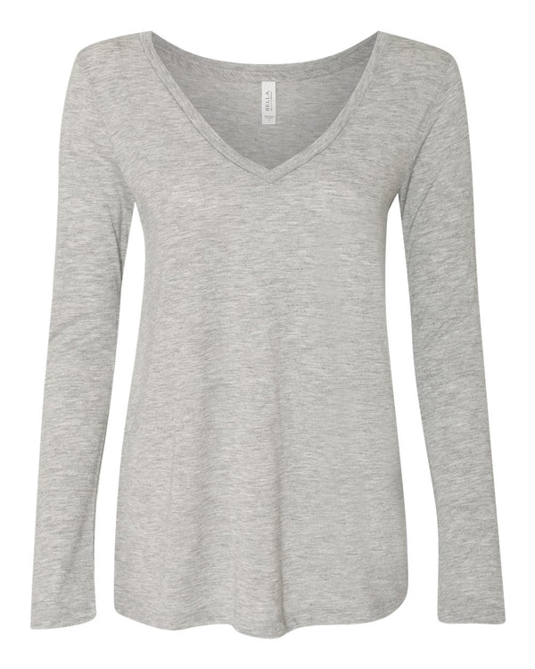 Women's Flowy Long sleeve V-Neck Tee-BELLA + CANVAS-Pacific Brandwear