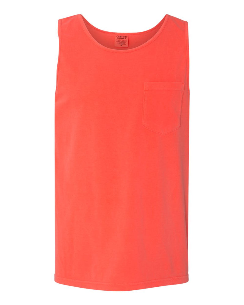 Garment-Dyed Heavyweight Pocket Tank Top-Comfort Colors-Pacific Brandwear