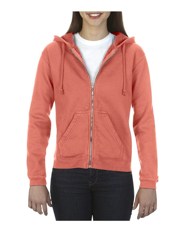 Garment-Dyed Women's Full-Zip Hooded SweatShirt-Comfort Colors-Pacific Brandwear