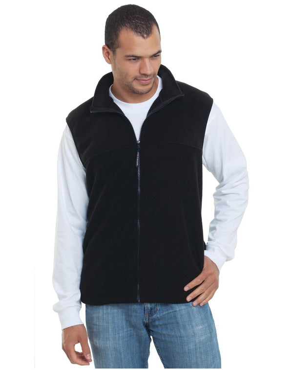 USA-Made Full-Zip Fleece Vest-Bayside-Pacific Brandwear