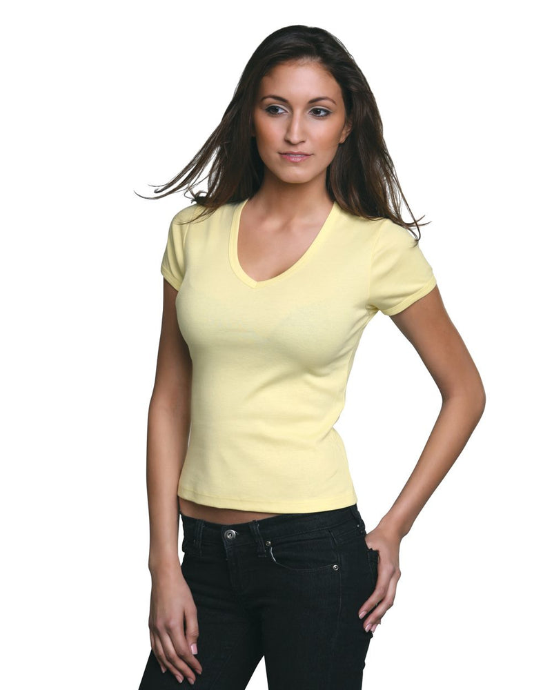 Women's USA-Made V-Neck Tee-Bayside-Pacific Brandwear