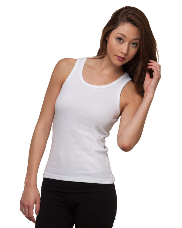 Women's USA-Made 2x1 Ribbed Tank Top-Bayside-Pacific Brandwear