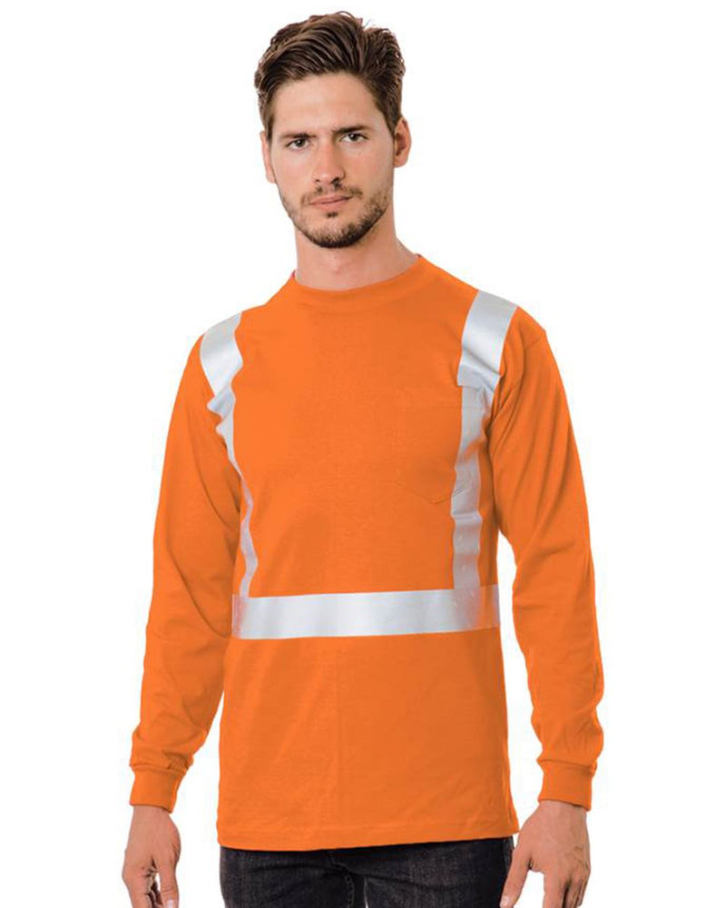 USA-Made 50/50 Hi-Visibility Pocket Long sleeve Tee-Bayside-Pacific Brandwear