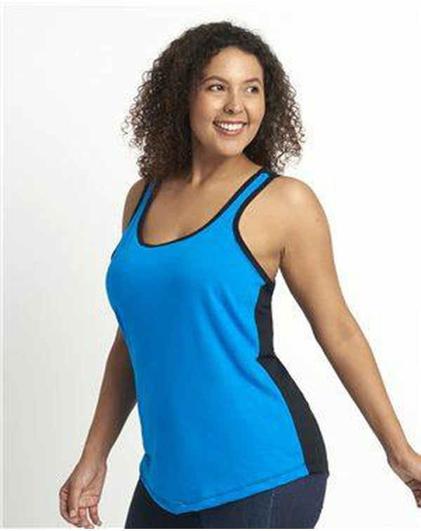 WomenÕs Ideal Colorblocked Racerback Tank-Next Level-Pacific Brandwear