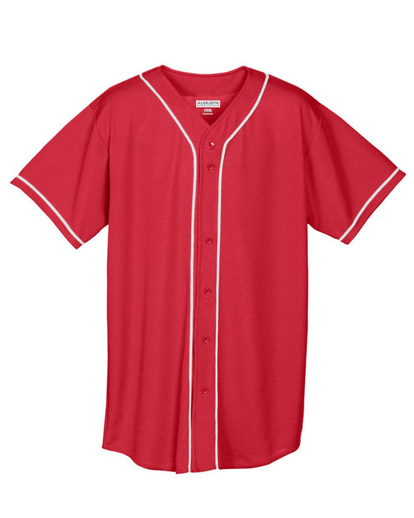 Wicking Mesh Button Front Jersey with Braid Trim-Augusta Sportswear-Pacific Brandwear