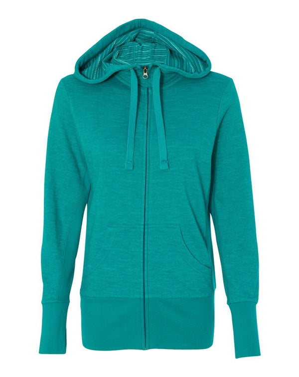 Women's Baja Stripe French Terry Full-Zip Hooded Sweatshirt-Independent Trading Co.-Pacific Brandwear
