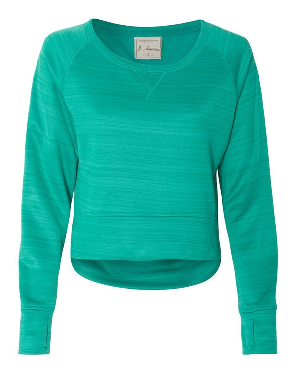 Women's Odyssey Striped Performance Fleece Hi-Lo Crewneck Sweatshirt-J. America-Pacific Brandwear