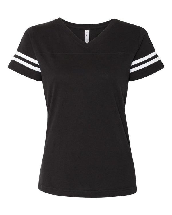 Women's Football V-Neck Fine Jersey Tee-LAT-Pacific Brandwear